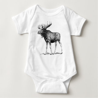Winter Moose Baby Bodysuit