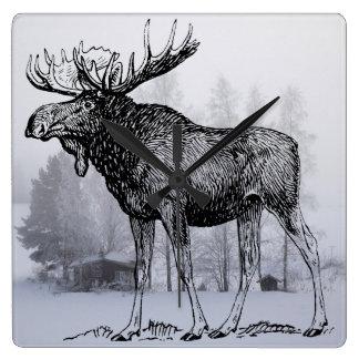 Winter Moose Square Wall Clock