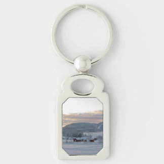 Winter Morning #1 Silver-Colored Rectangle Key Ring