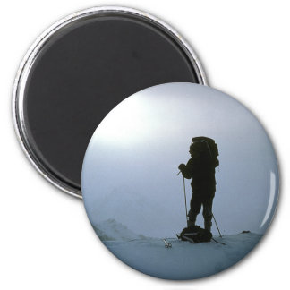 Winter Mountain Hiking 6 Cm Round Magnet