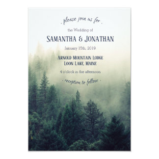 Winter Mountain Pines Wedding Invitation