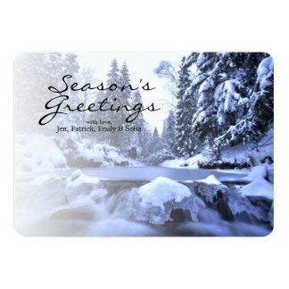 Winter mountain river- Beskid Mountains, Poland 13 Cm X 18 Cm Invitation Card