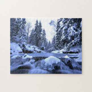 Winter mountain river- Beskid Mountains, Poland Jigsaw Puzzle