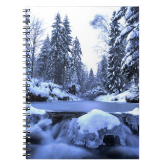 Winter mountain river- Beskid Mountains, Poland Spiral Notebook