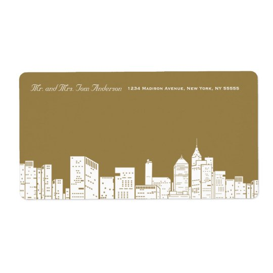Winter New York Gold Address Label