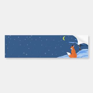 Winter Night Fox Bumper Sticker