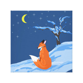 Winter Night Fox Canvas Print