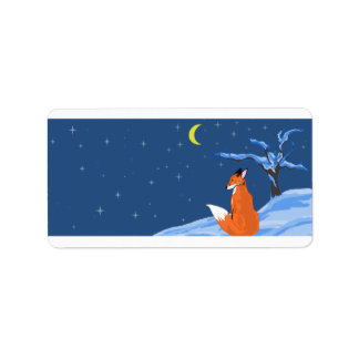 Winter Night Fox Label Address Label