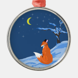 Winter Night Fox Silver-Colored Round Decoration