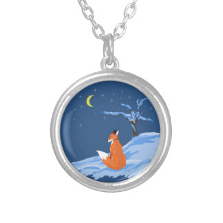 Winter Night Fox Silver Plated Necklace