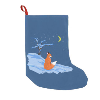 Winter Night Fox Small Christmas Stocking