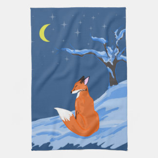 Winter Night Fox Tea Towel
