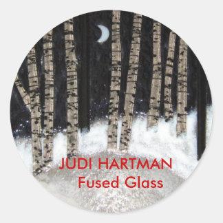 Winter Night Fused Glass Classic Round Sticker