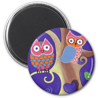Winter Night Owls in Love 6 Cm Round Magnet