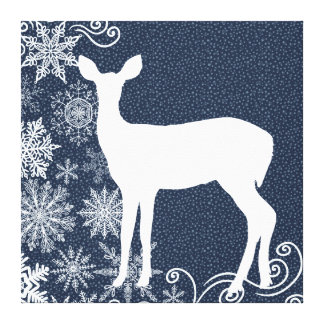 Winter Night Sky White Deer Wrapped Canvas Stretched Canvas Print