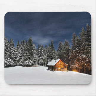 Winter Nights Log Cabin Mouse Mat
