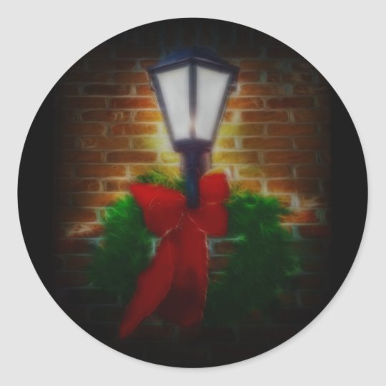 Winter Nights Wreath and Lamp Classic Round Sticker