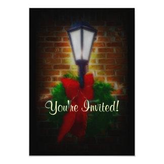"Winter Nights Wreath and Lamp 5"" X 7"" Invitation Card"