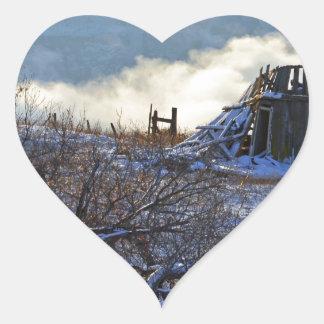Winter On Dalles Mt Heart Sticker