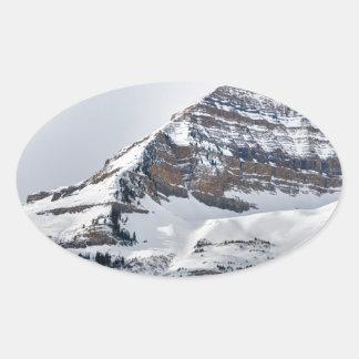 Winter on Mt Timpanogos - Sundance - Utah Oval Sticker