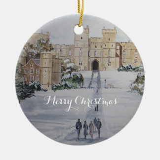 Winter on Windsor Castle Landscape Painting Christmas Ornament