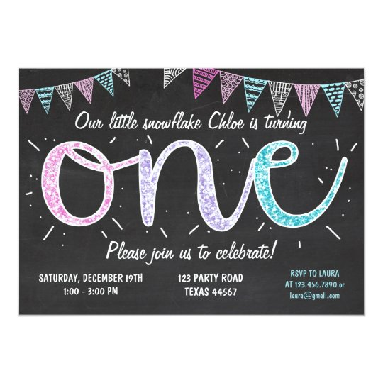 Winter ONE birthday party Snowflake invitation