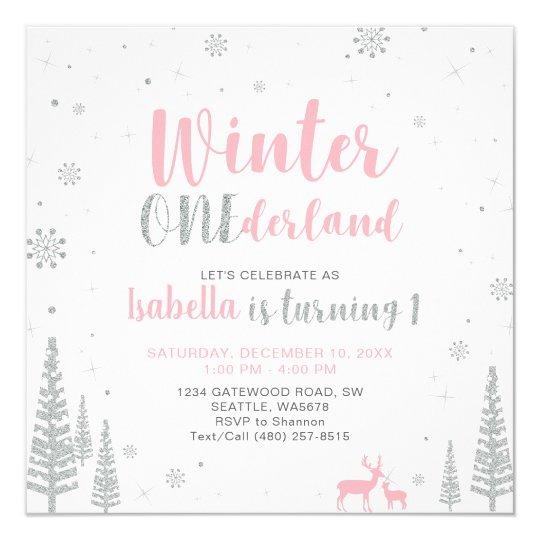Winter Onederland 1st/First Birthday - Girl Card