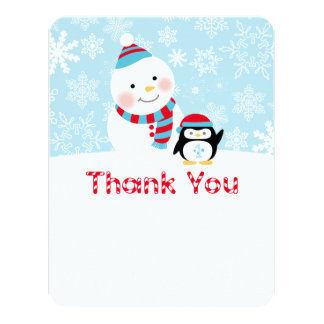 Winter ONEderland Birthday | Flat Thank You Note 4.25x5.5 Paper Invitation Card