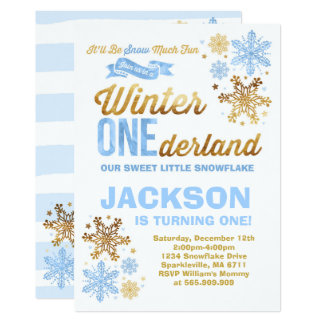 Winter ONEderland Birthday Invitation Blue Gold