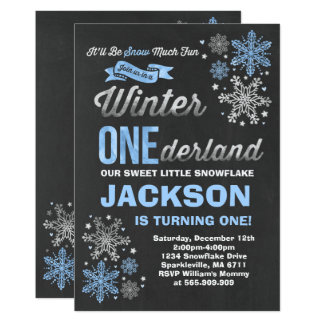 Winter ONEderland Birthday Invitation Blue Silver