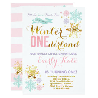 Winter ONEderland Birthday Invitation Pink Gold