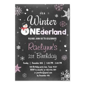 Winter Onederland birthday invitation snowman Pink