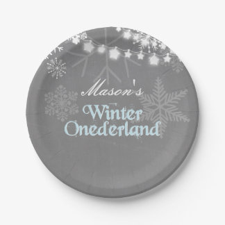 Winter onederland Birthday Paper Plates Snowflakes