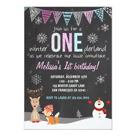 Winter ONEderland birthday party invitation