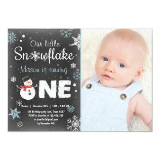 Winter Onederland birthday party snowman Blue mint Card