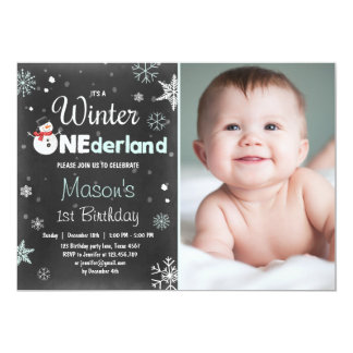 Winter Onederland birthday party snowman Mint Blue Card