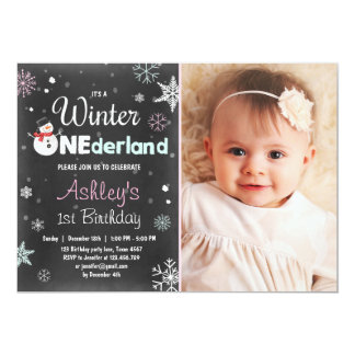 Winter Onederland birthday party snowman Mint Pink 13 Cm X 18 Cm Invitation Card