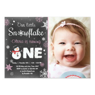Winter Onederland birthday party snowman Pink 13 Cm X 18 Cm Invitation Card