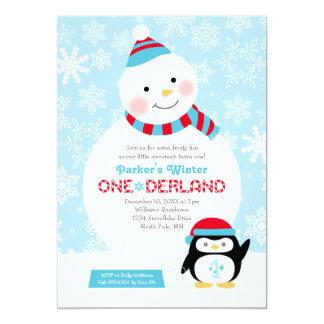 Winter ONEderland Birthday | Snowman and Penguin 13 Cm X 18 Cm Invitation Card