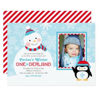 Winter ONEderland Birthday | Snowman and Penguin 13 Cm X 18 Cm Invitation Card