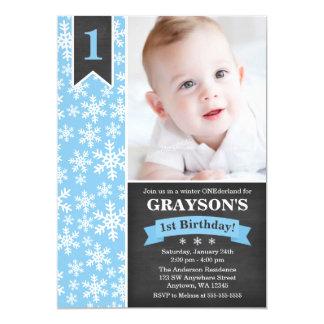 Winter Onederland Blue Boy 1st Birthday Invitation
