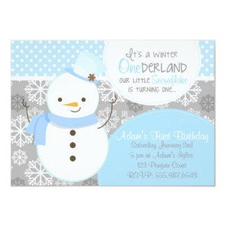 Winter ONEderland Blue Snowman Invitation