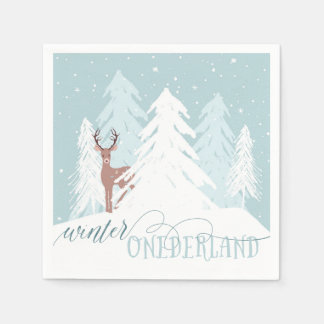 Winter Onederland First Birthday Napkin Deer Disposable Serviette