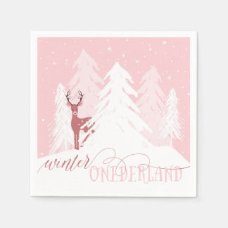 Winter Onederland First Birthday Napkin Pink Disposable Napkins