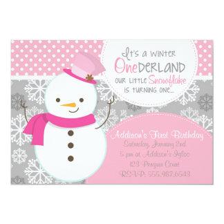 Winter ONEderland Pink Snowman Invitation