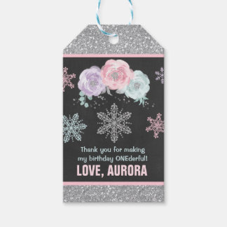 Winter ONEderland Silver Party Favor Thank You Tag