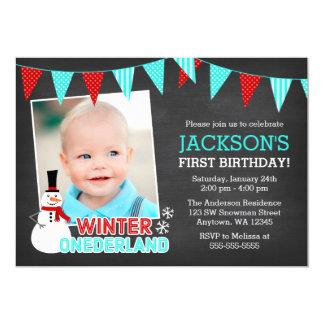 Winter Onederland Snowman Boy 1st Birthday 13 Cm X 18 Cm Invitation Card