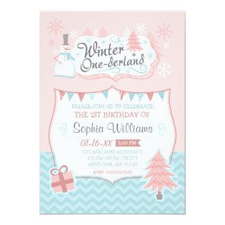 Winter Onederland Snowman Girl 1st Birthday Card