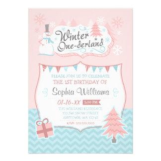 Winter Onederland Snowman Girl 1st Birthday Announcement
