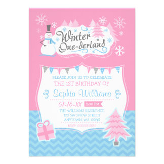 Winter Onederland Snowman Pink Blue 1st Birthday Custom Invites